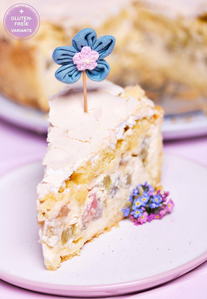 Rezept Rhabarber-Rahm-Kuchen mit Streusel & Baiser