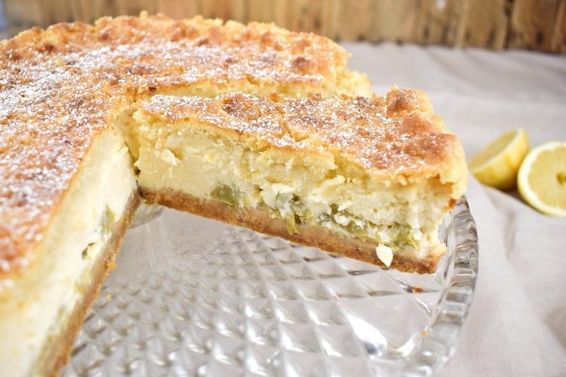 Rezept Rhabarber Zitronen Käsekuchen mit Knusperschicht