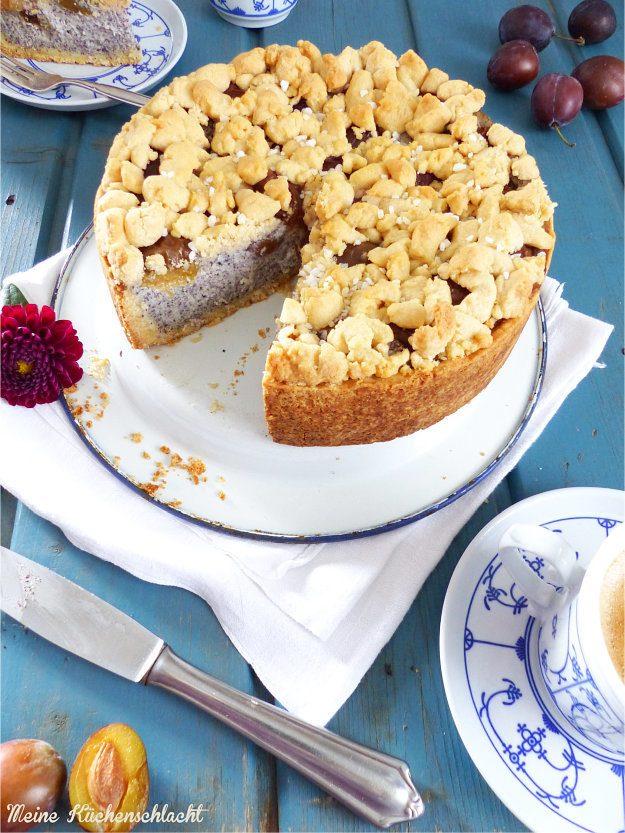 Rezept Ricotta-Mohn Kuchen mit Zwetschgen und Zimtstreuseln