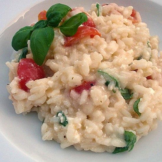 Rezept Risotto mit Tomaten, Basilikum und Schafskäse nach Jamie Oliver