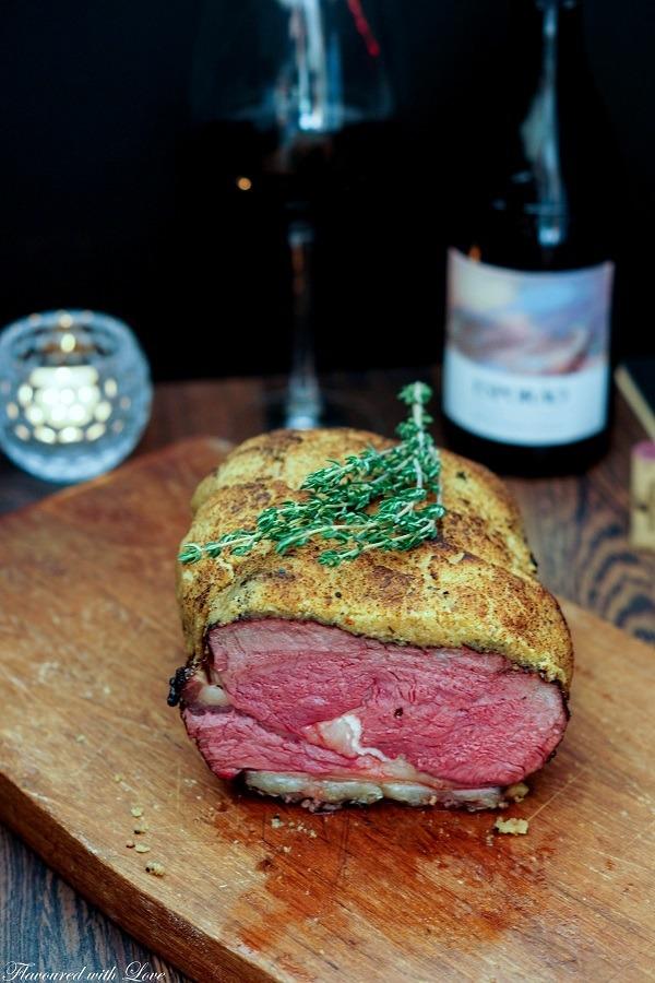 Rezept Roastbeef mit Thymian-Senf-Kruste