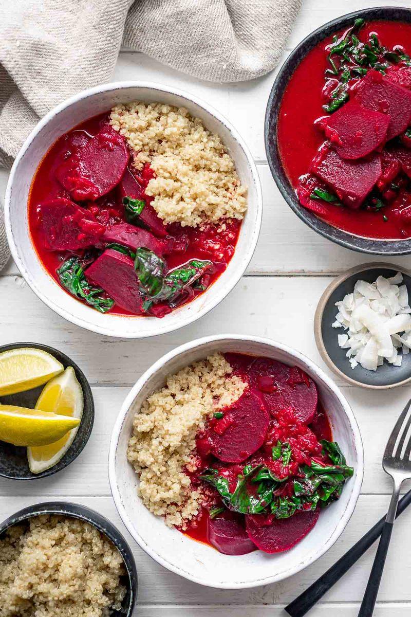 Rezept Rote-Bete-Curry mit Kokosmilch und Spinat