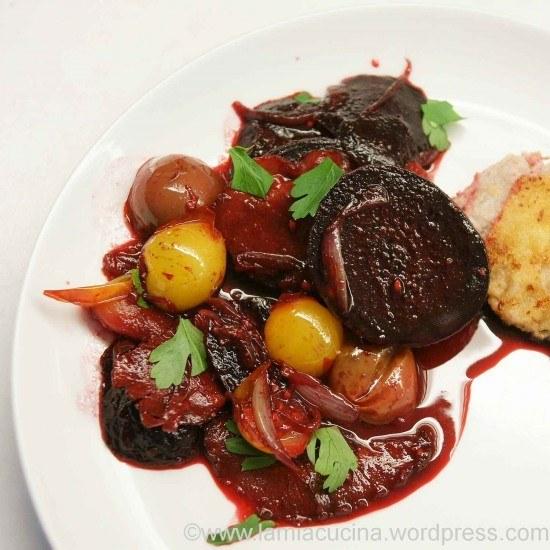 Rezept Rote Bete mit Speck und Tomaten