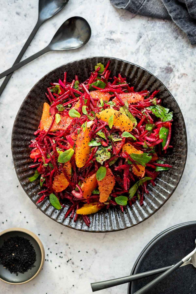 Rezept Rote Bete Orangen Salat mit frischen Kräutern