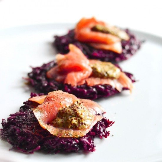 Rezept Rote Bete Puffer mit Graved Lachs