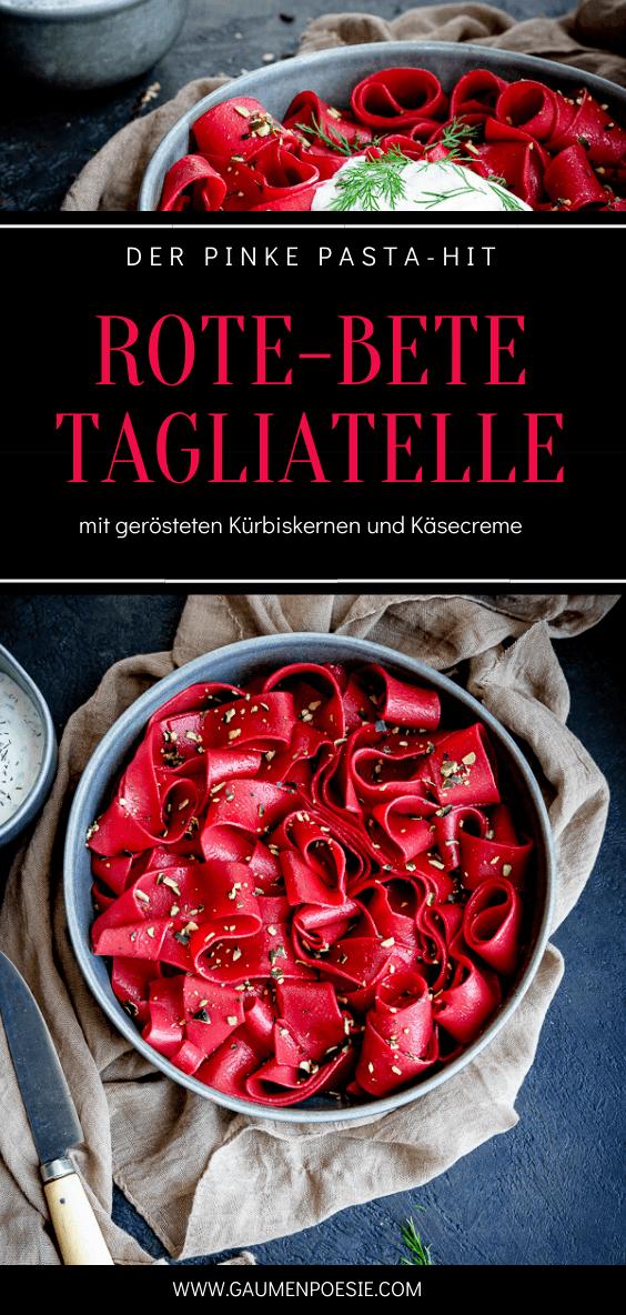 Rezept Rote-Bete-Tagliatelle mit gerösteten Kürbiskernen und Käsecreme