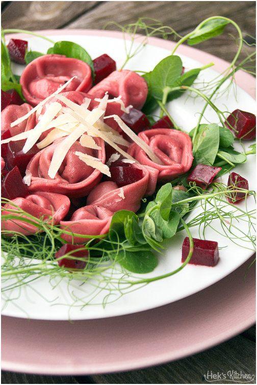 Rezept Rote Bete Tortellini mit Erbsenfüllung