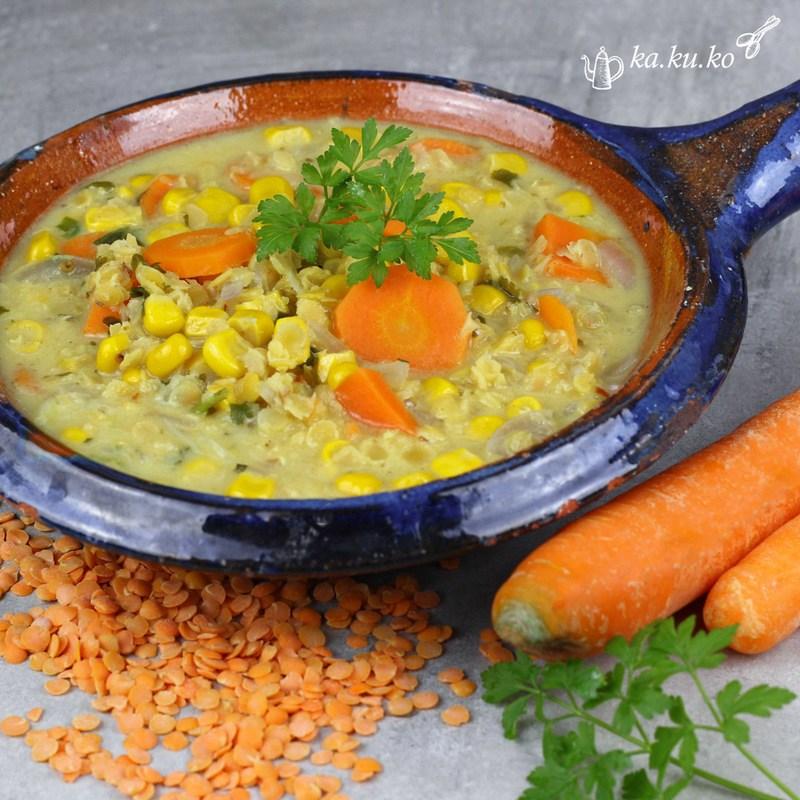 Rezept Rote Linsen-Mais-Suppe mit Karotten und Koriander