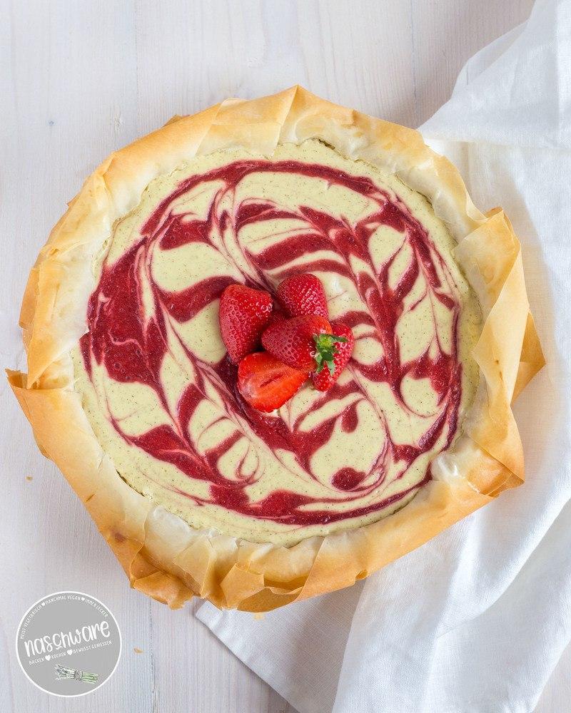 Rezept Ruckzuck Käsekuchen mit Erdbeerswirl