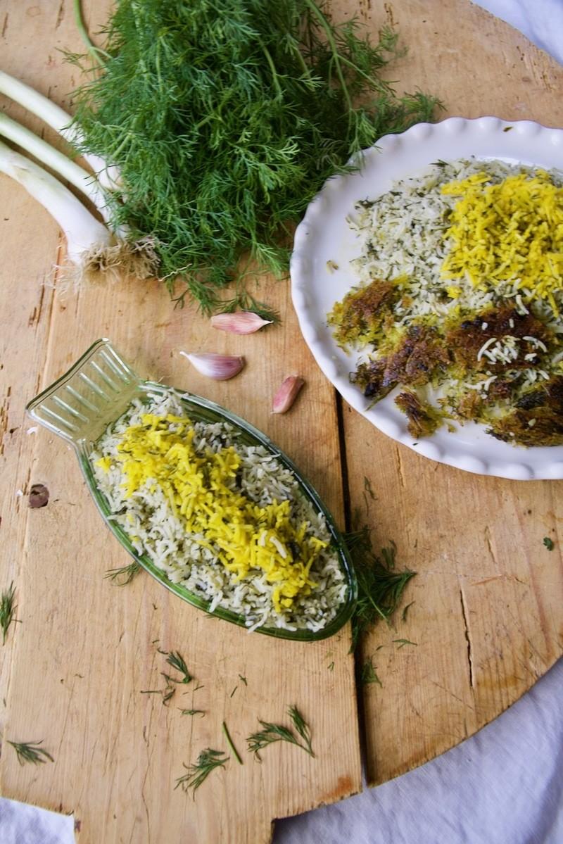 Rezept Sabzi Polo - Persischer Kräuterreis mit Butter-Safran-Reiskruste