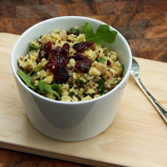 Rezept Saffran Couscous, Kichererbsen und Linsen Salat