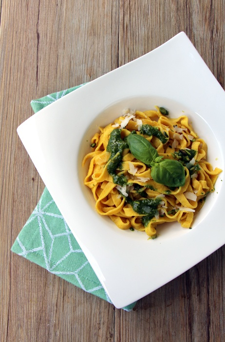 Rezept Safran-Tagliatelle mit Pistazien-Pesto