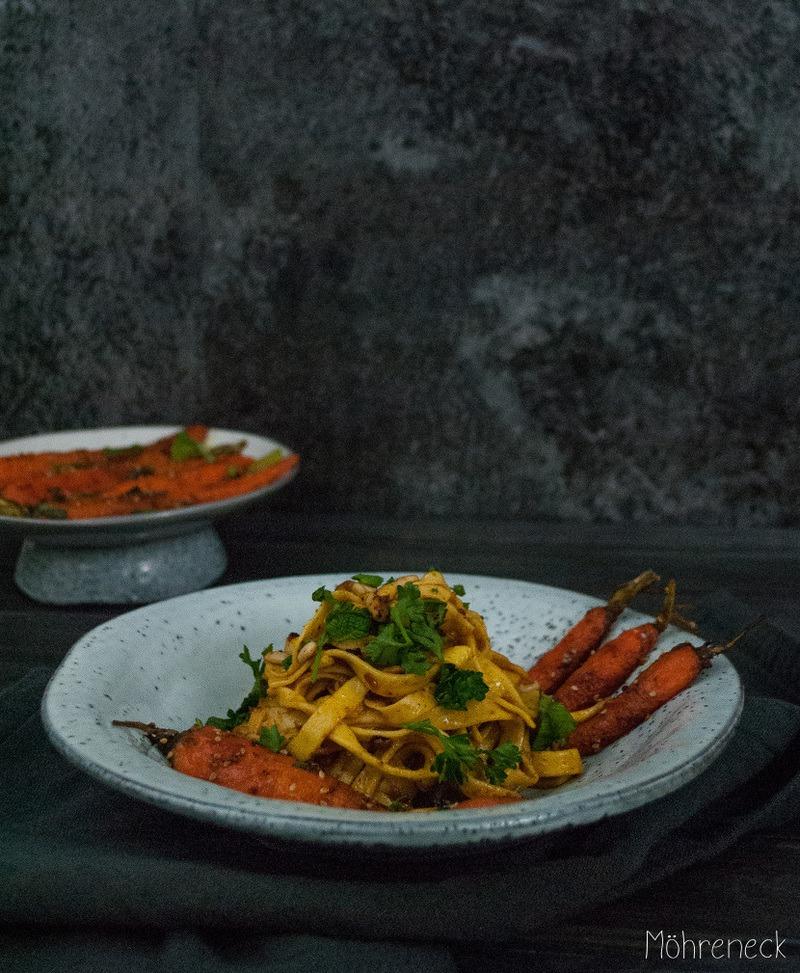 Rezept  Safrantagliatelle mit Gewürzbutter & Minzmöhren