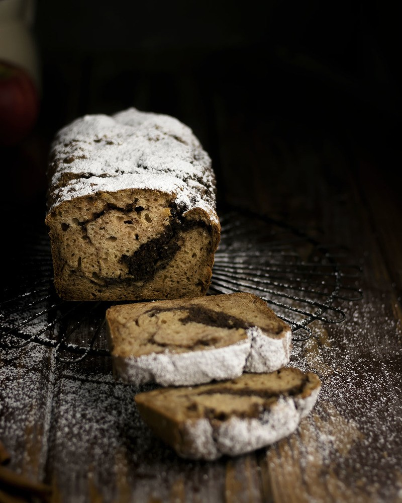 Rezept Saftiges Apfel-Zimt-Brot | Marmorkuchen mit Apfelmus & Zimt-Swirl