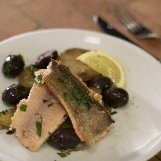 Rezept Saibling mit Oliven und Kartoffeln