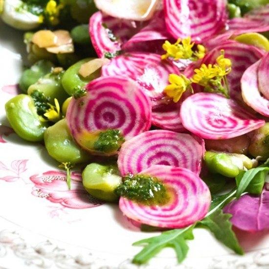 Rezept Salat aus Fave und Chioggia Bete