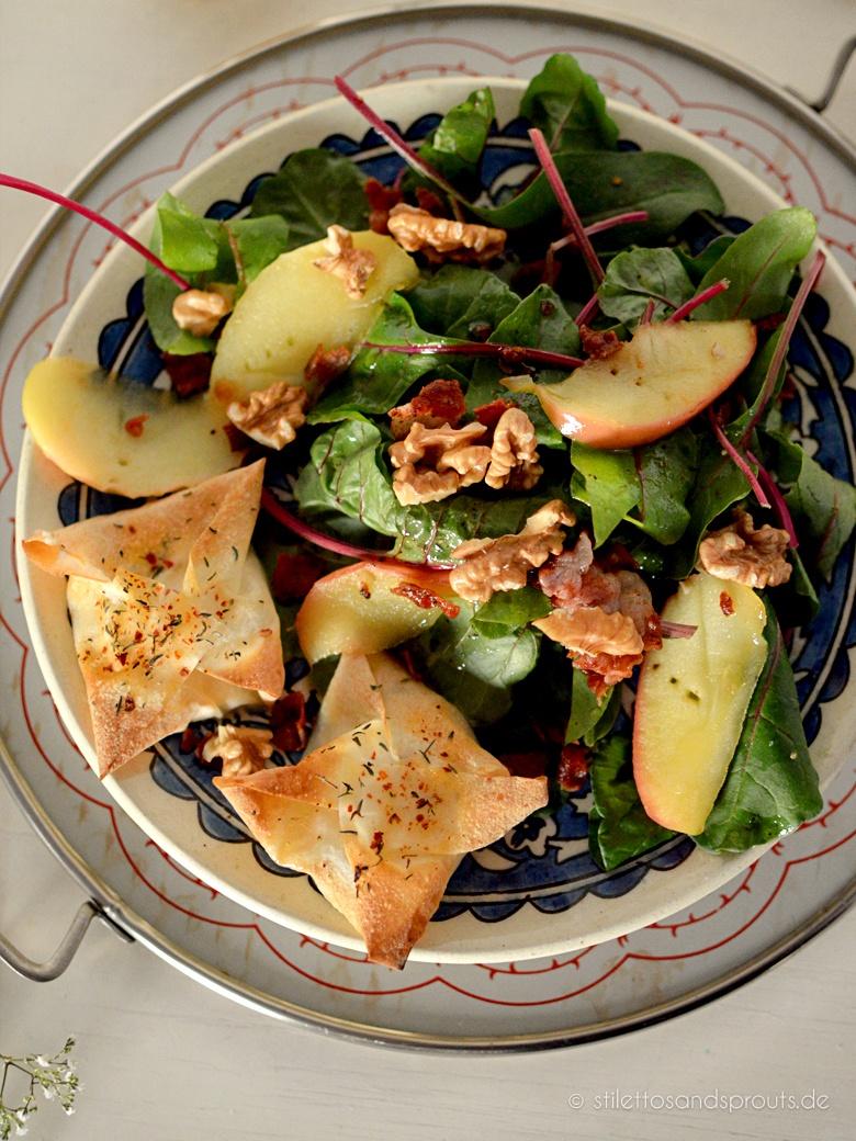Rezept Salat mit Honig-Ziegenkäse-Päckchen und Bacon