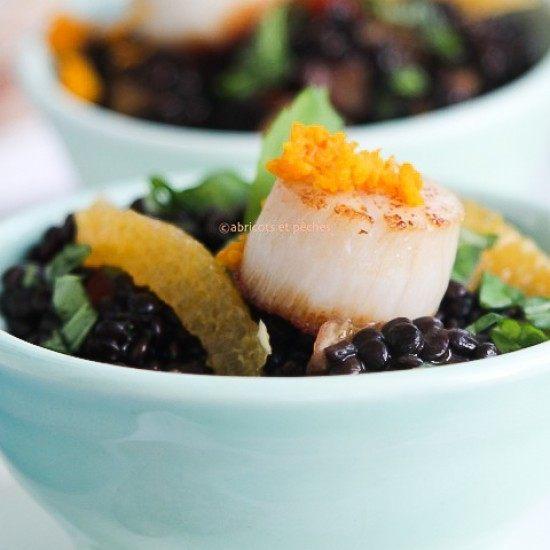 Rezept Salat von Beluga-Linsen mit Jakobsmuscheln