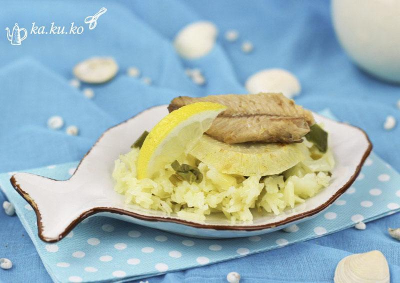 Rezept Sardinen und Sellerie auf Lauch-Zitronenreis (One Pot)