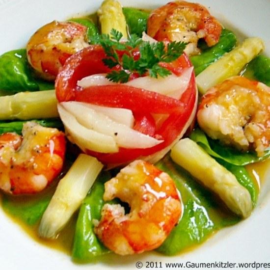 Rezept Scampi mit Spargel Vanille Salat