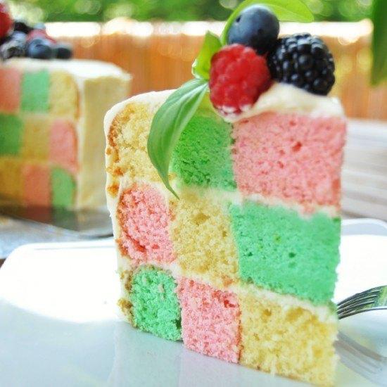Rezept Schachbrett-Torte mit Frischkäsefrosting