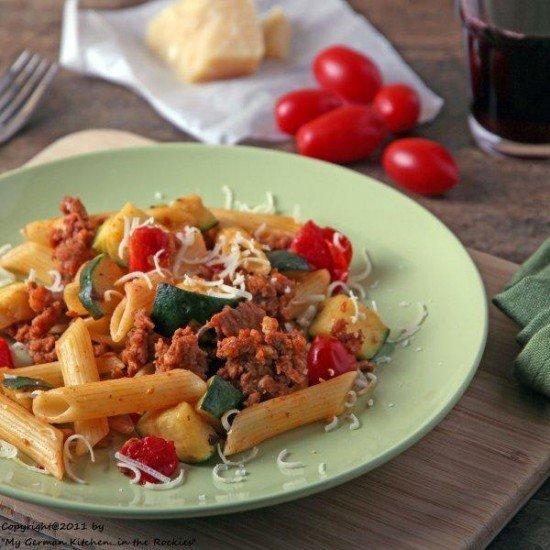 Rezept Scharfe Pasta mit Chorizo und Gemuese