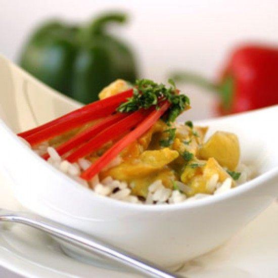 Rezept Scharfes Curry-Huhn auf Reis