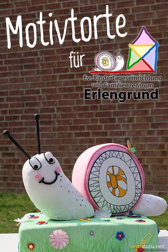 Rezept Schnecken Motivtorte – 3D Kindergarten Logo mit Fondant