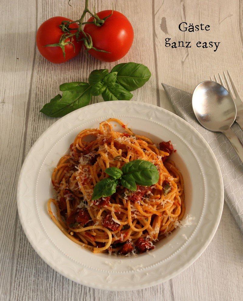 Rezept Schnelle Spaghetti mit getrockneten Tomaten und Kapern