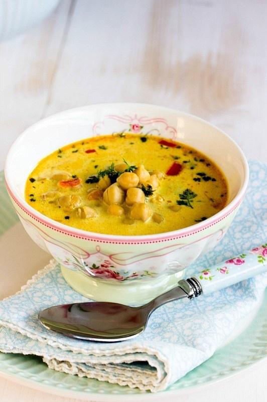 Rezept Schnelle,gesunde Kichererbsen Suppe mit Kokosmilch und vielen Gewürzen