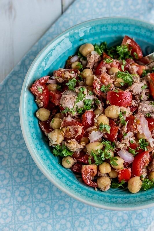 Rezept Schneller,einfacher Kichererbsen-Thunfisch Salat mit Tomaten