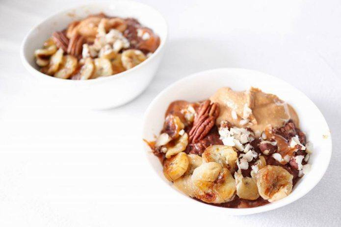 Rezept Schoko-Bananen Haferbrei mit Erdnussbutter