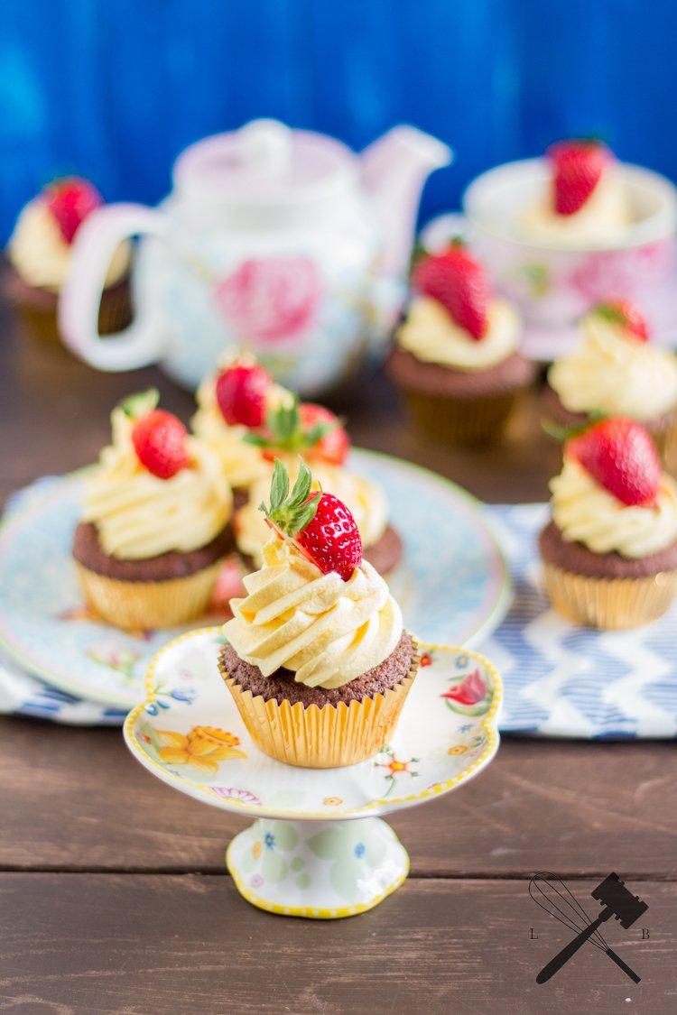 Rezept Schoko-Vanille-Erdbeer Cucpakes