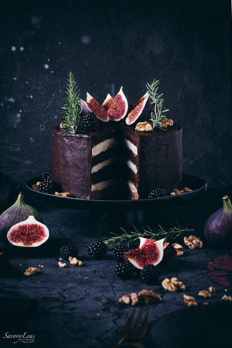 Rezept Schokoladen-Feigen-Torte mit Walnüssen