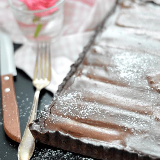 Rezept Schokoladen-Ganache-Tarte mit Rhabarber
