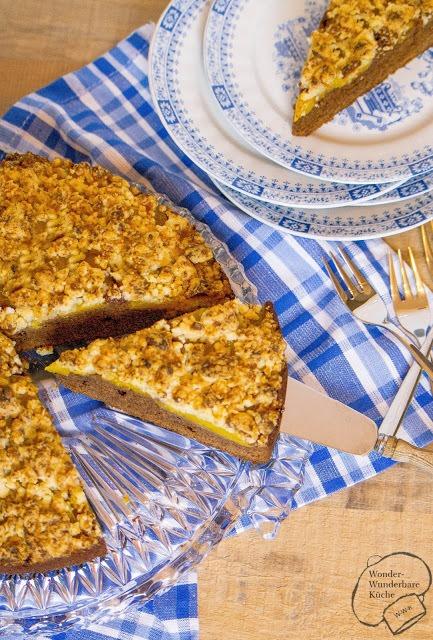 Rezept Schokoladen-Pfirsich-Kuchen mit Marzipanstreusel