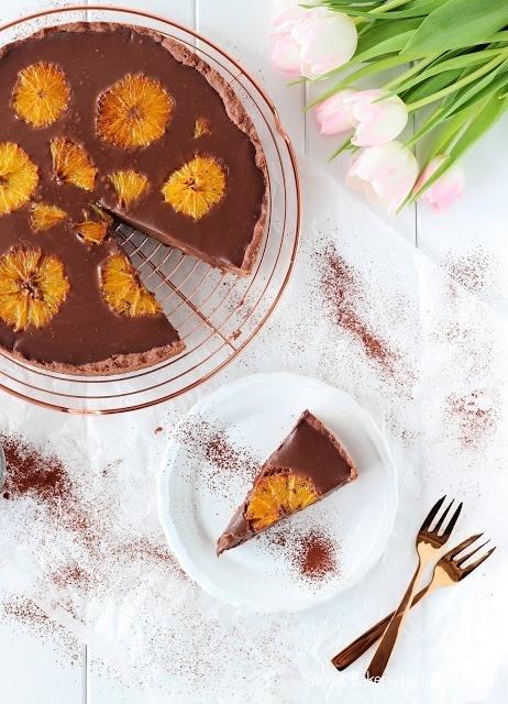 Rezept Schokoladen Tarte mit karamellisierten Orangen