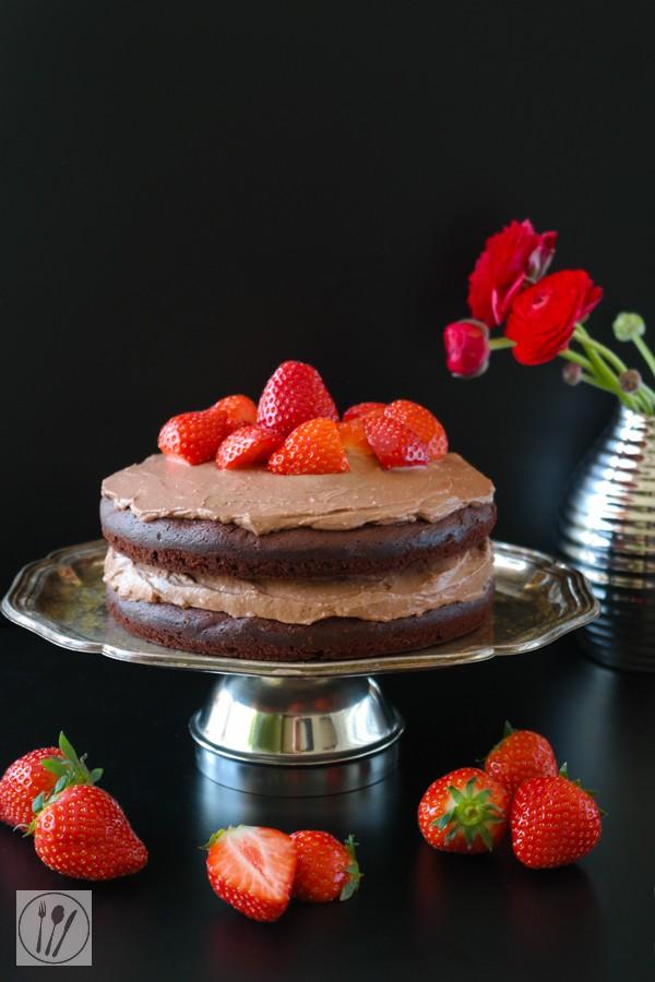 Rezept Schokoladentorte mit Erdbeeren