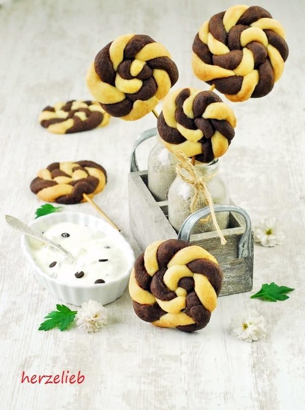 Rezept Schwarz-Weiß-Gebäck als Cookie Pops