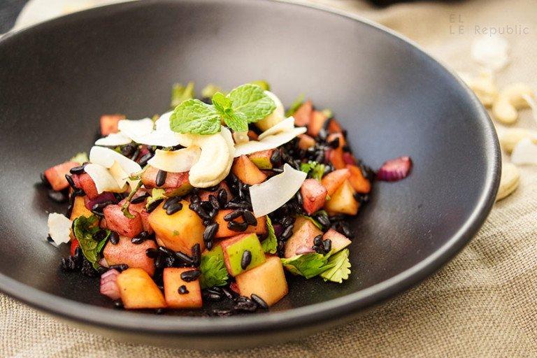 Rezept Schwarzer Reis Salat mit Mango und Apfel