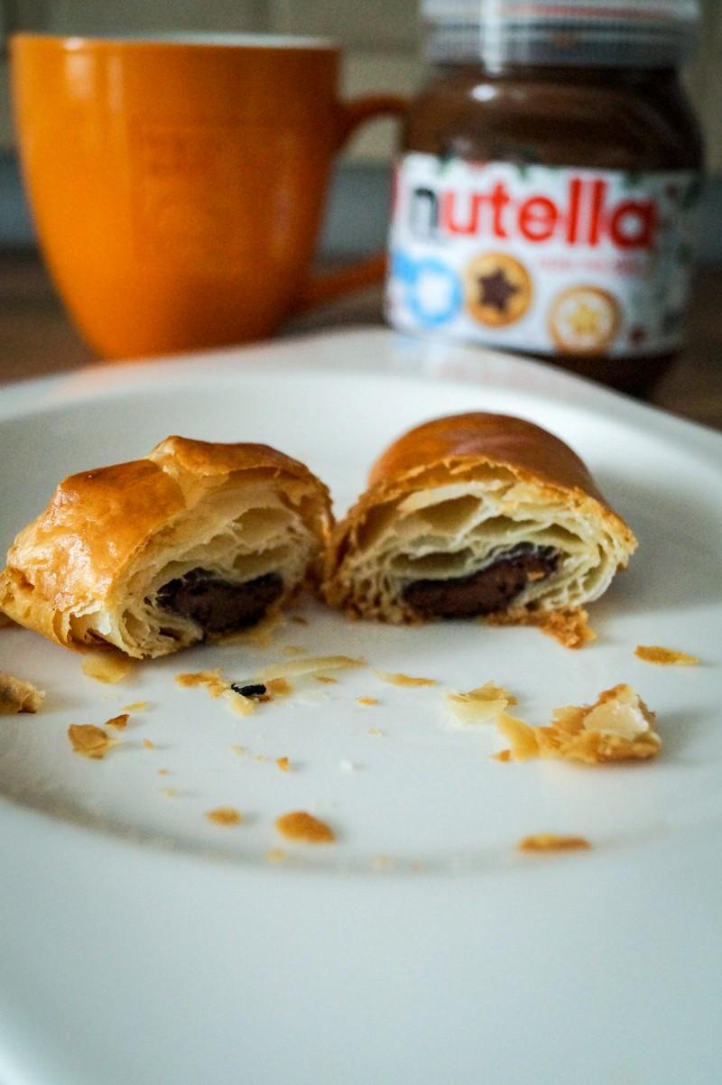 Rezept Selbstgemachter Blätterteig -> Nutella Croissants