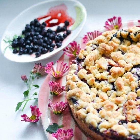 Rezept Selbstgemachter Vanillepudding mit Blaubeeren aus dem Ofen