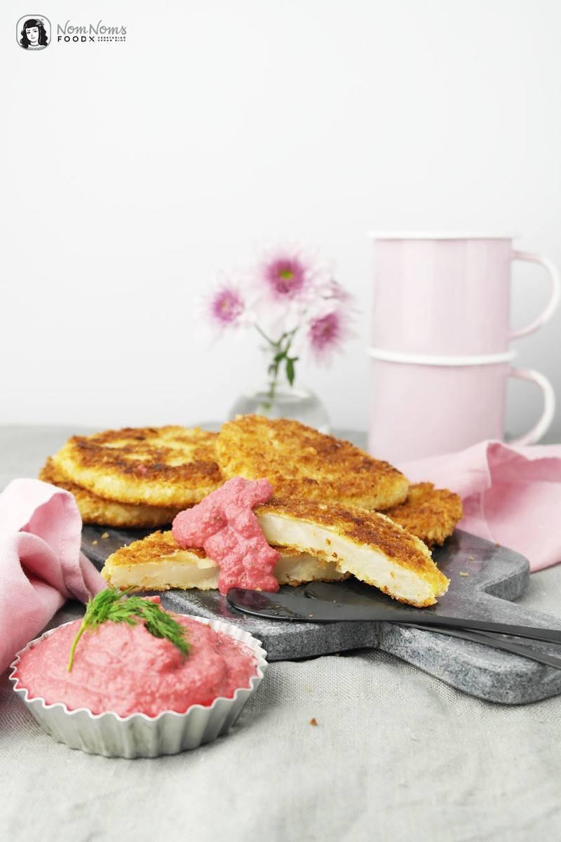 Rezept Sellerie-Schnitzel mit Rote-Bete-Apfel-Meerrettich-Dip