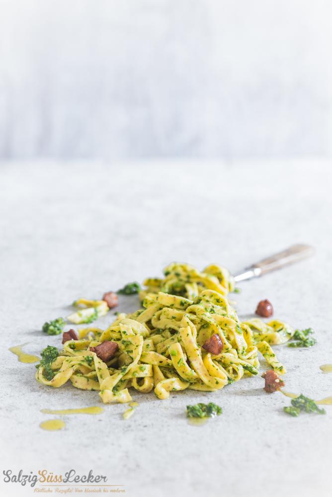 Rezept Senfnudeln mit Grünkohl-Pesto