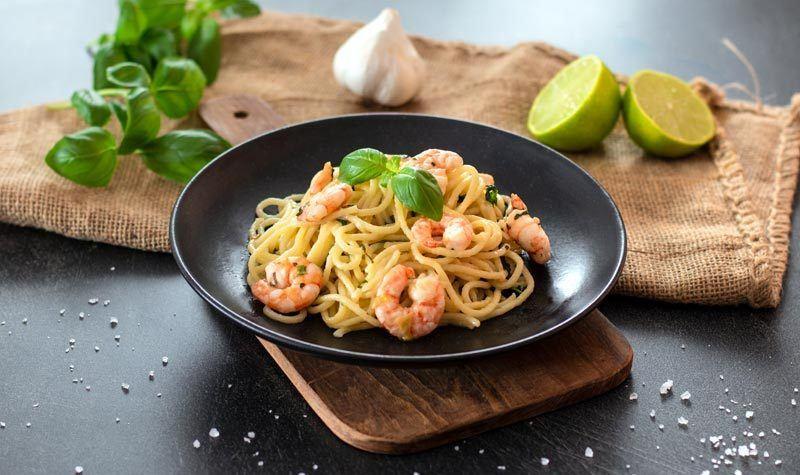 Rezept Shrimps-Pasta aus dem Wok