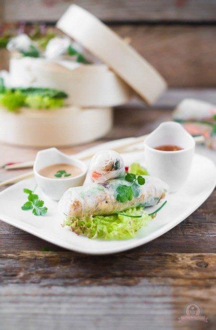 Rezept Sommerrollen mit grünem Spargel und Erdnussdip