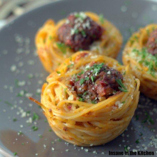 Rezept Spaghetti-Hackbällchen in Muffin-Form