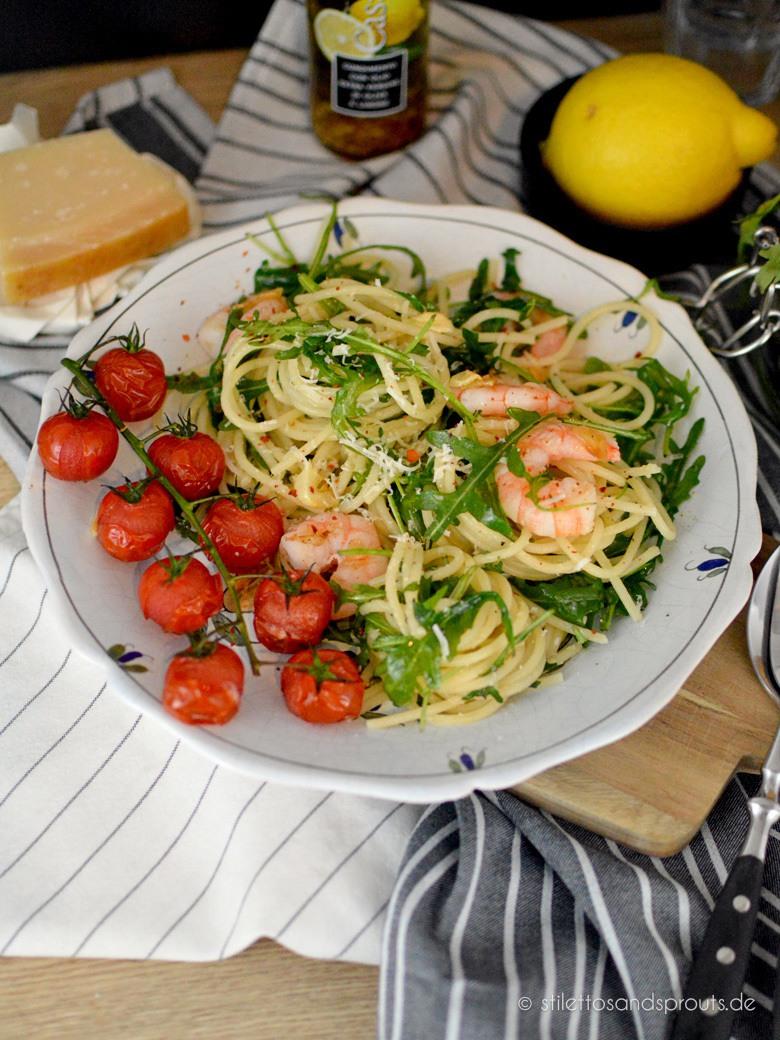 Rezept Spaghetti mit Garnelen und Rucola