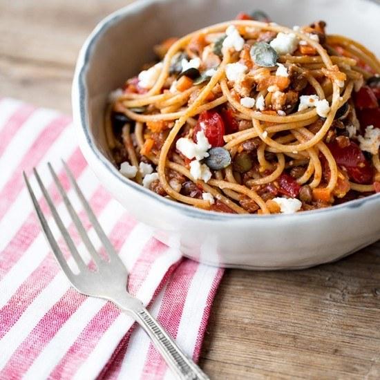 Rezept Spaghetti mit Linsen, Kirschtomaten und Feta