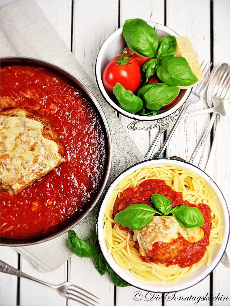 Rezept Spaghetti mit süßer Tomatensauce & Hackbraten mit Parmesanhaube